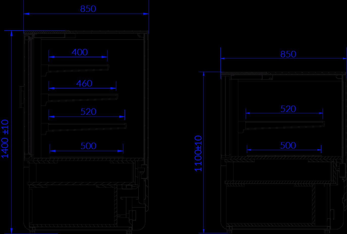 Rysunek techniczny Witryna cukiernicza INNOVA N