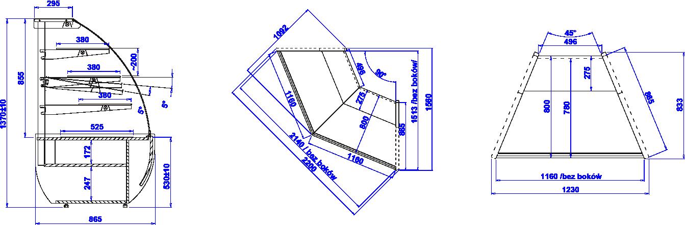 Rysunek techniczny Witryna cukiernicza JAMAJKA N