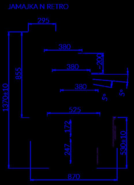 Rysunek techniczny Witryna cukiernicza JAMAJKA N MOD RETRO