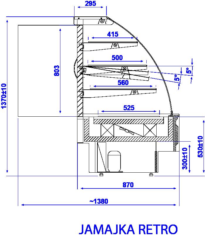 Rysunek techniczny Witryna cukiernicza JAMAJKA W MOD C RETRO