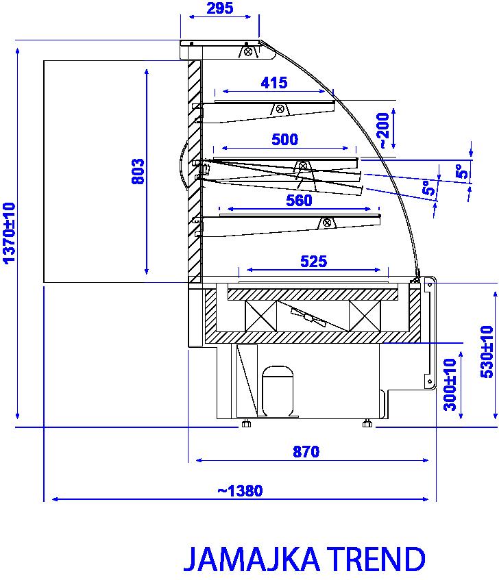 Rysunek techniczny Witryna cukiernicza JAMAJKA W MOD C TREND