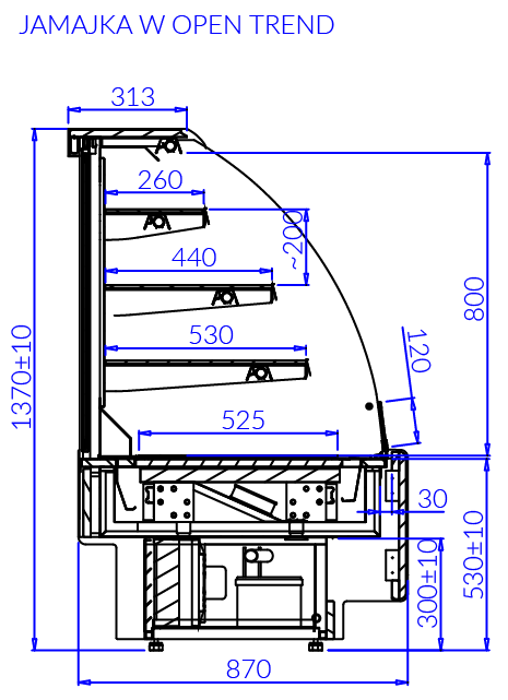 Rysunek techniczny Witryna cukiernicza JAMAJKA W OPEN MOD C TREND