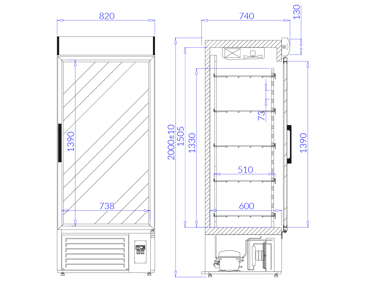 Rysunek techniczny Szafa chłodnicza JOLA 1
