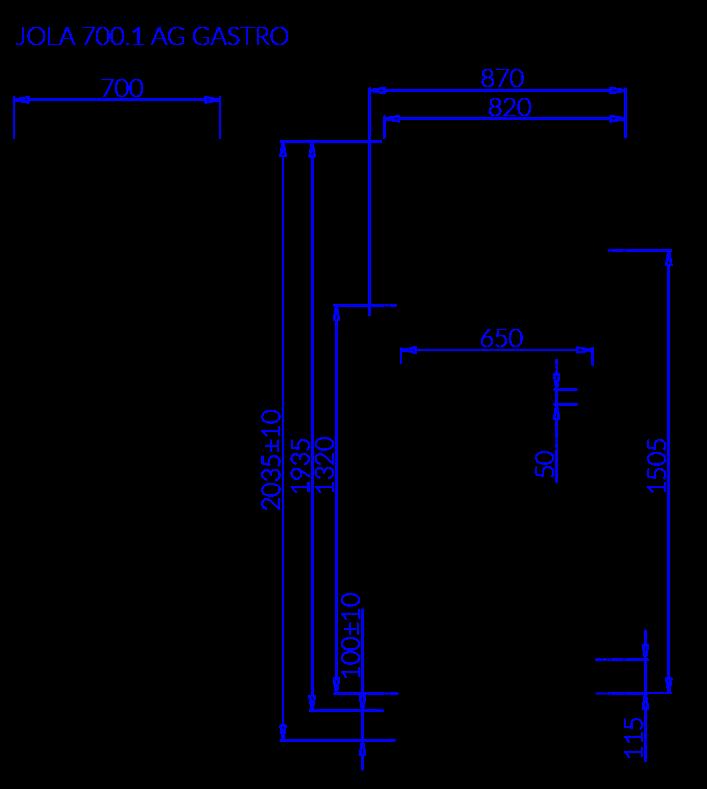 Rysunek techniczny Szafa chłodnicza JOLA 1 AG GASTRO