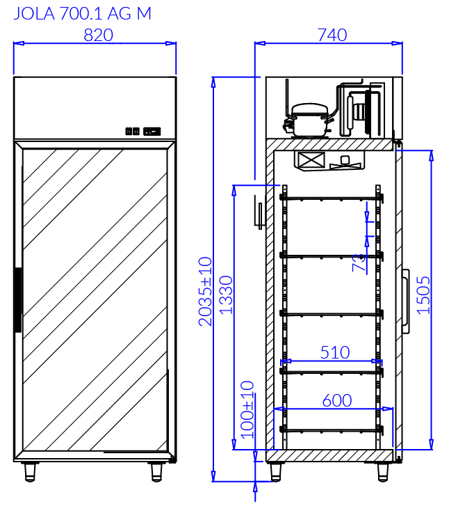 Rysunek techniczny Szafa mroźnicza JOLA 1 AG M