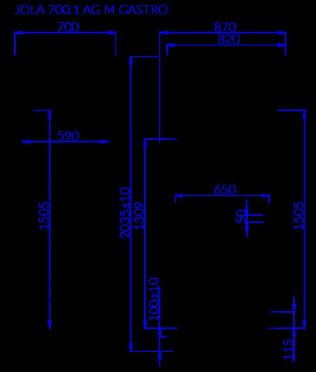Rysunek techniczny JOLA 1 AG M GASTRO