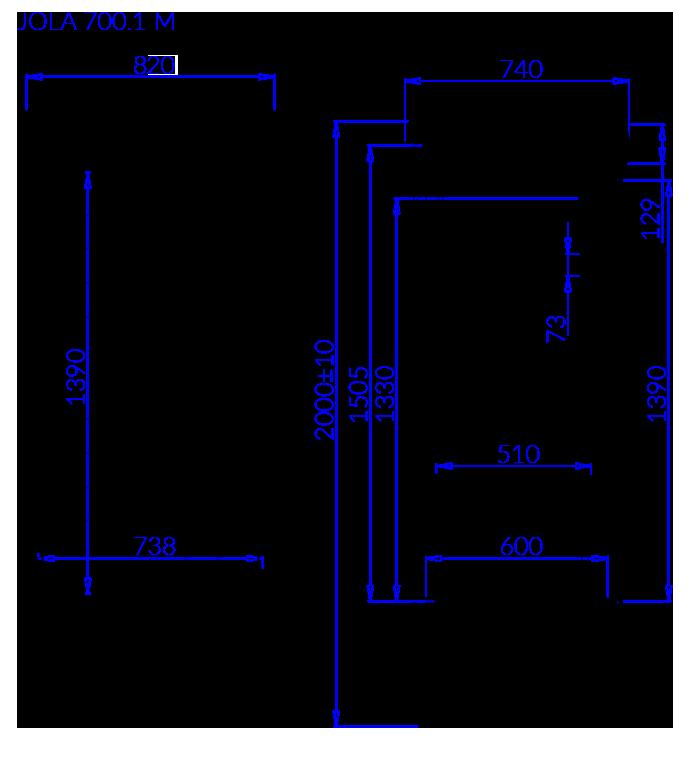 Rysunek techniczny Szafa mroźnicza JOLA 1 M