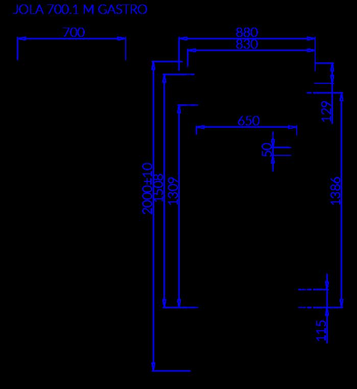 Rysunek techniczny JOLA 1 M GASTRO