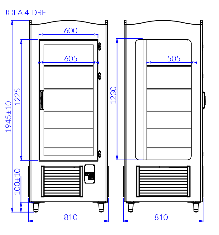 Rysunek techniczny Szafa cukiernicza JOLA 4 DRE