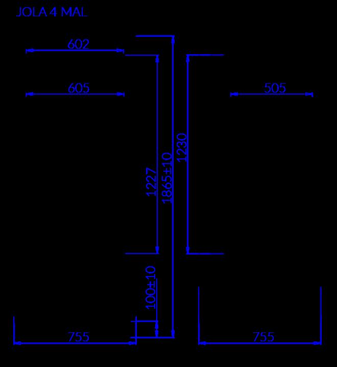 Rysunek techniczny Szafa cukiernicza JOLA 4 MAL