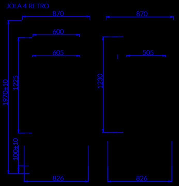 Rysunek techniczny Szafa cukiernicza JOLA 4 RETRO