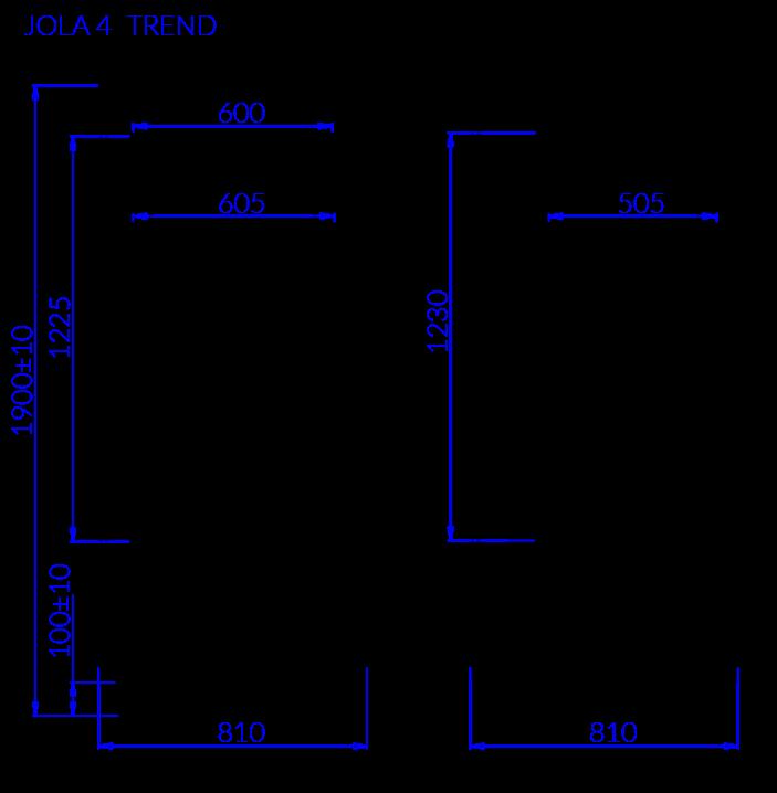 Rysunek techniczny Szafa cukiernicza JOLA 4 TREND