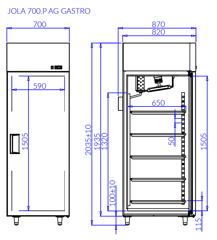 Rysunek techniczny JOLA P AG GASTRO