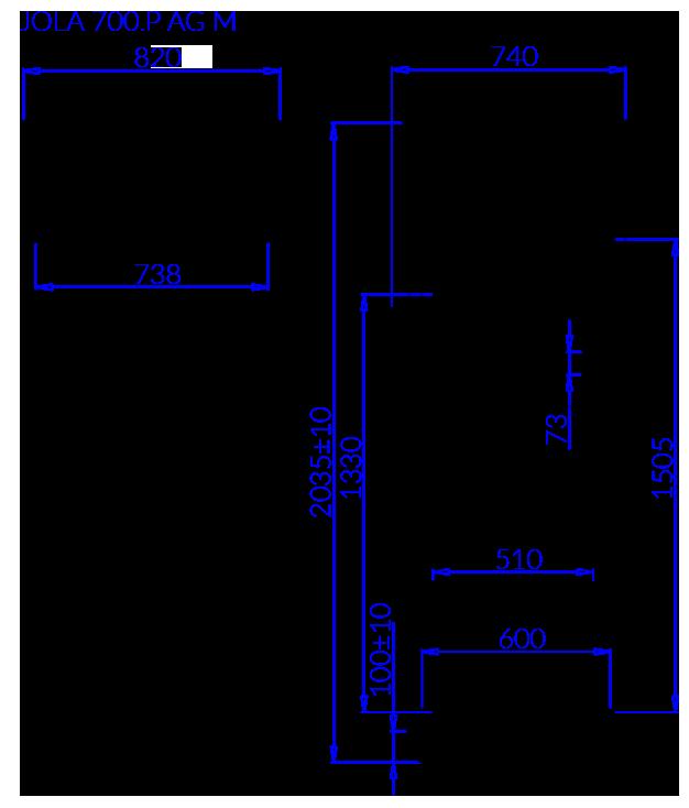 Rysunek techniczny Szafa mroźnicza JOLA P AG M