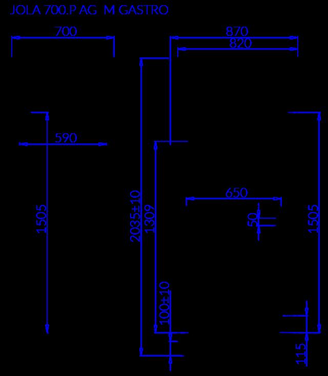 Rysunek techniczny Szafa mroźnicza JOLA P AG M GASTRO