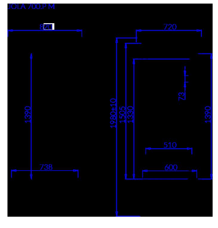 Rysunek techniczny Szafa mroźnicza JOLA P M