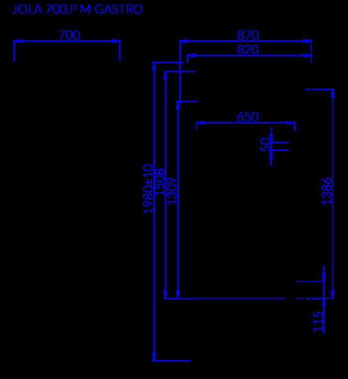 Rysunek techniczny Szafa mroźnicza JOLA P M GASTRO