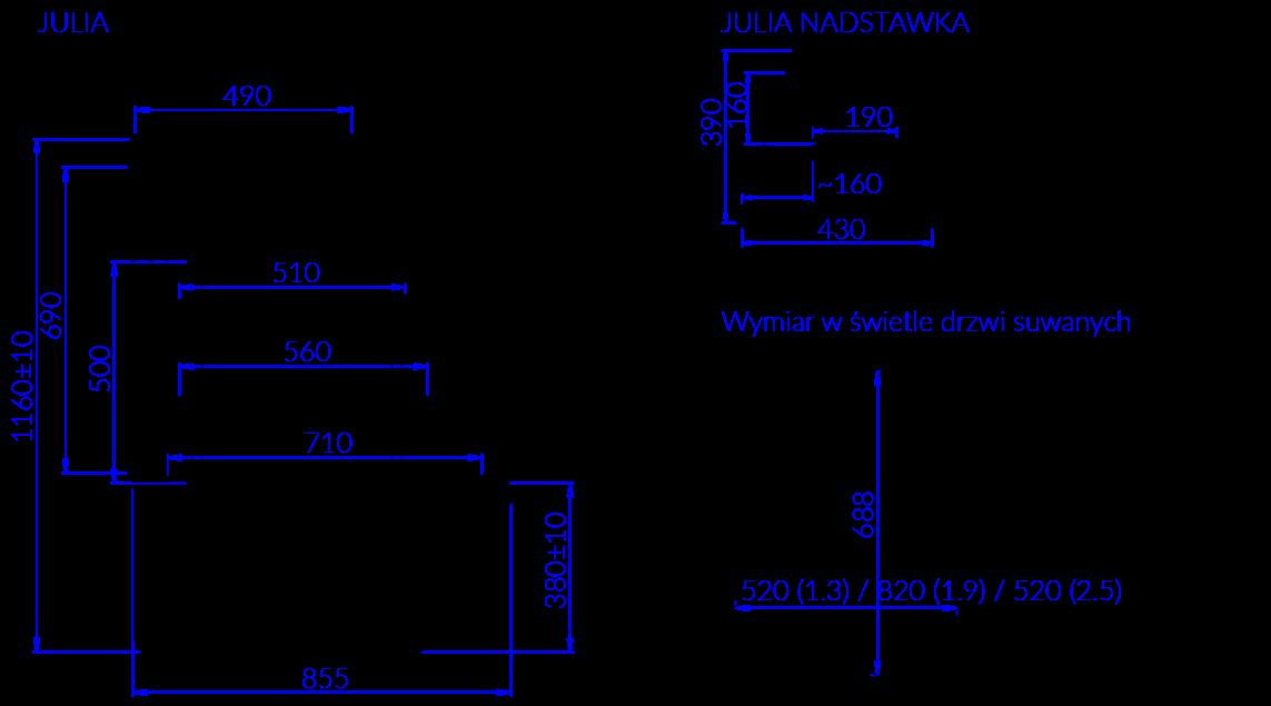 Rysunek techniczny Witryna cukiernicza JULIA