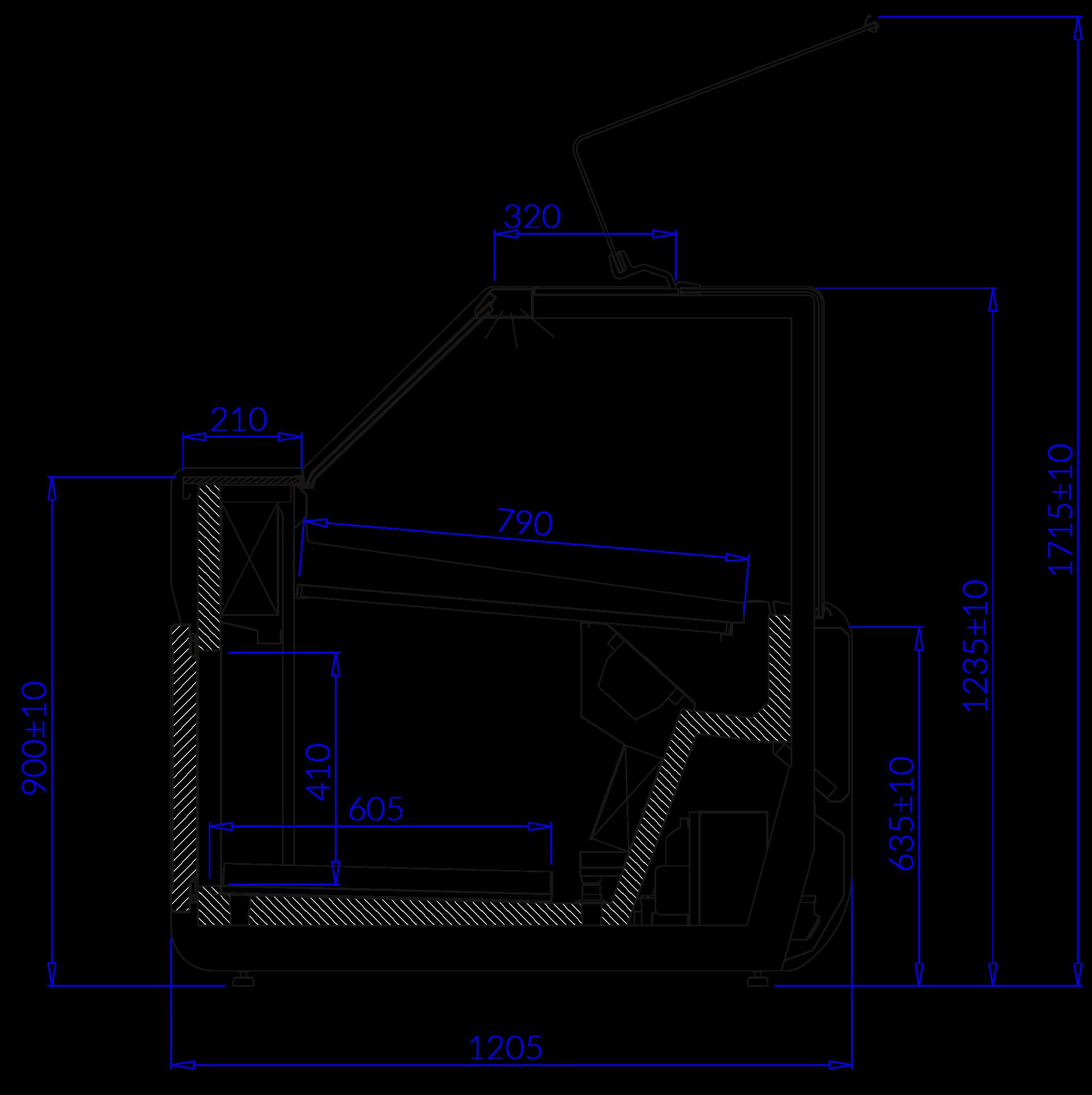 Rysunek techniczny Witryna chłodnicza JUMBO MOD C