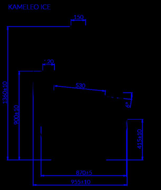 Rysunek techniczny Dystrybutor do lodów KAMELEO ICE