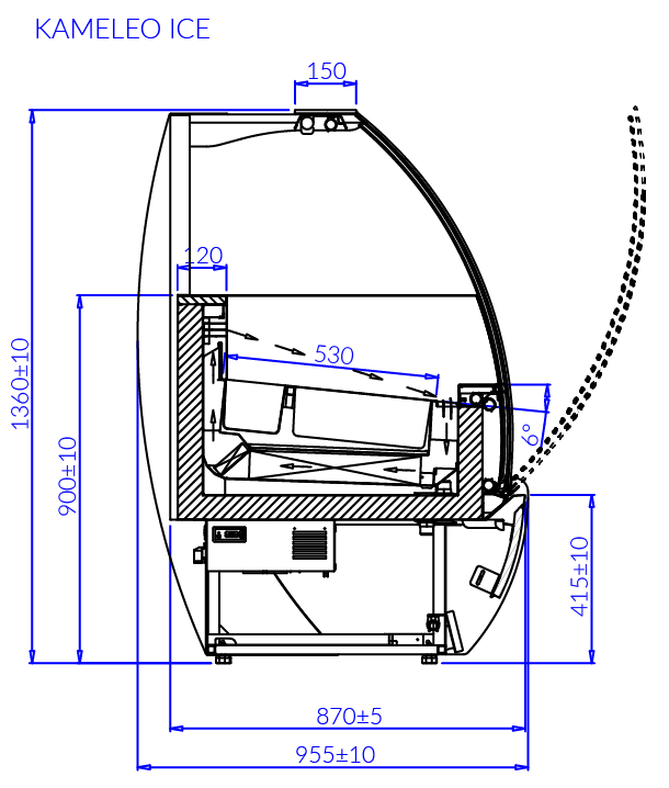 Rysunek techniczny Dystrybutor do lodów KAMELEO ICE MOD C