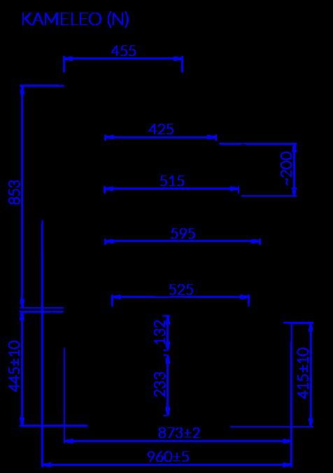 Rysunek techniczny Witryna cukiernicza KAMELEO N MOD
