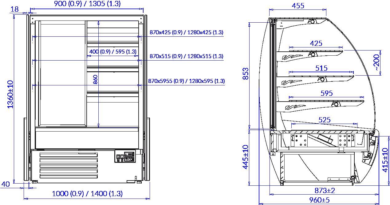 Rysunek techniczny Witryna cukiernicza KAMELEO W MOD C