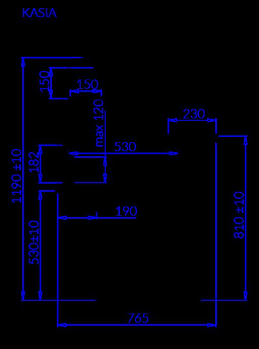 Rysunek techniczny Witryna sałatkowa KASIA