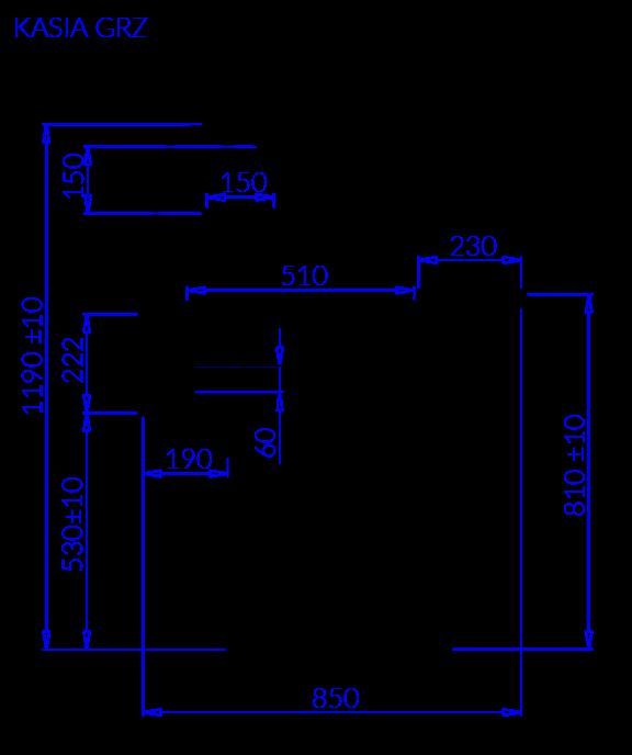 Rysunek techniczny Witryna grzewcza KASIA GRZ