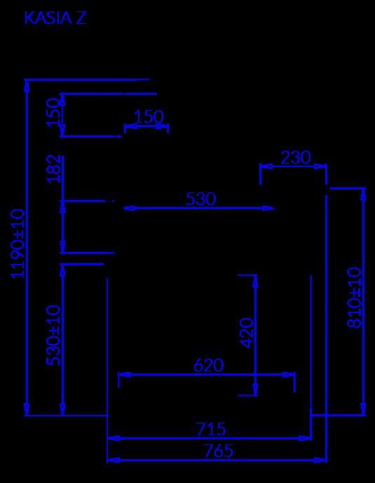 Rysunek techniczny Witryna sałatkowa KASIA Z