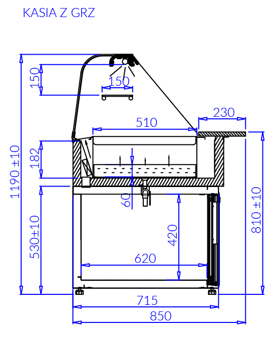 Rysunek techniczny Witryna grzewcza KASIA Z GRZ