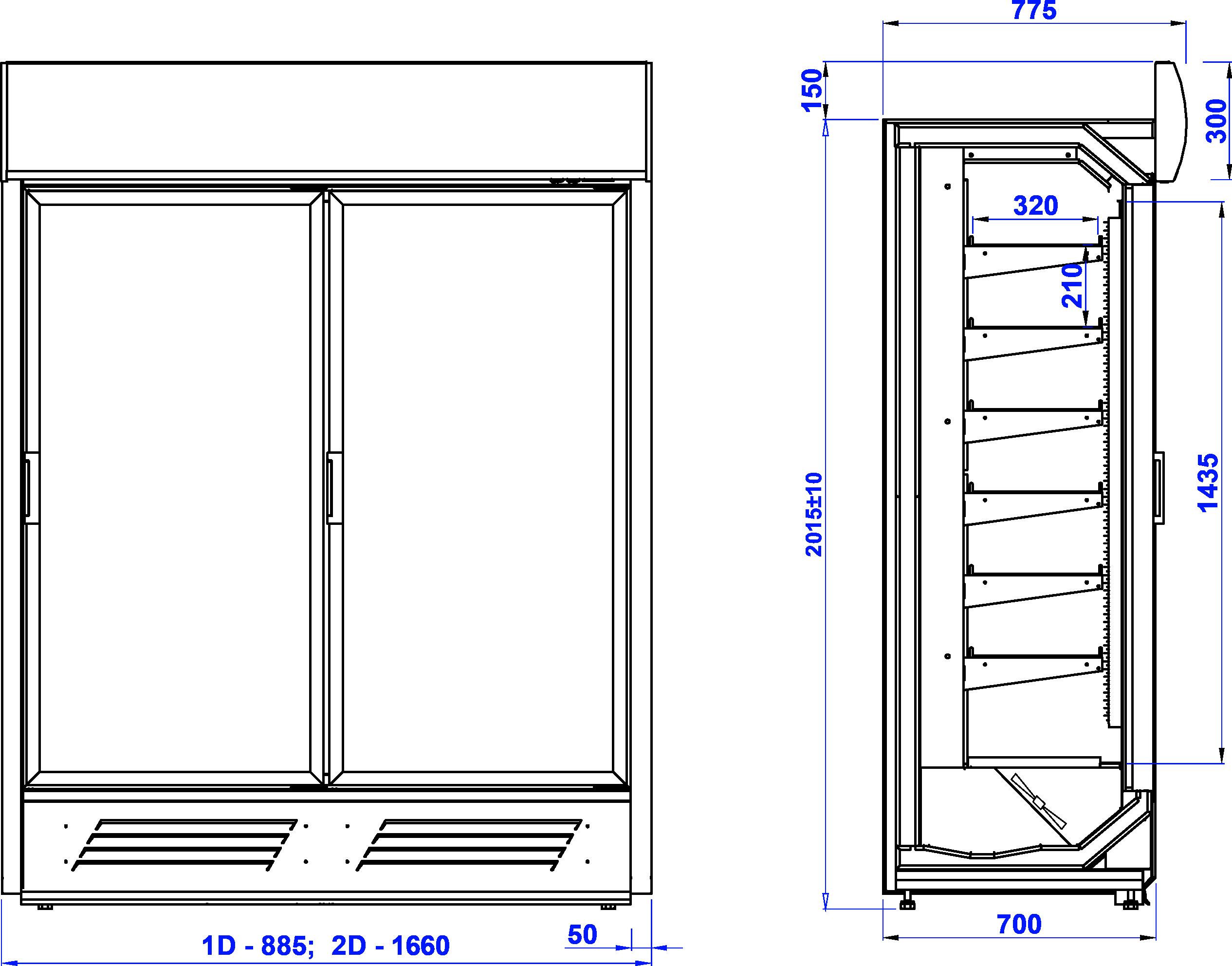 Rysunek techniczny Regał mroźniczy KING AT M MOD C
