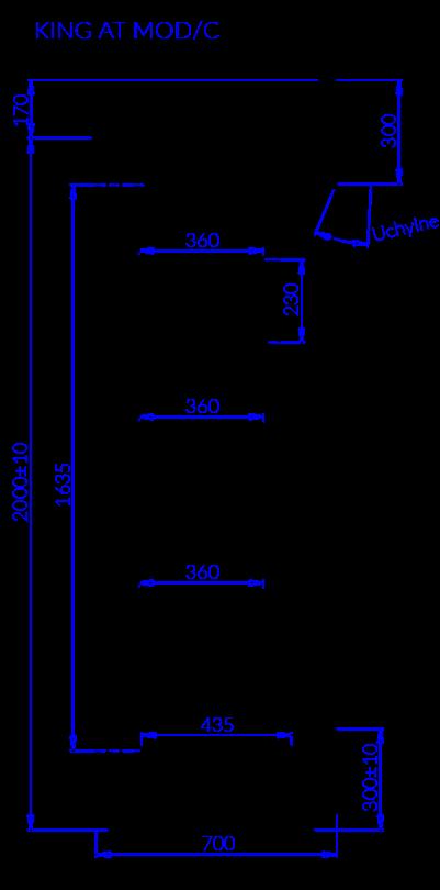 Rysunek techniczny Regał chłodniczy KING AT MOD C