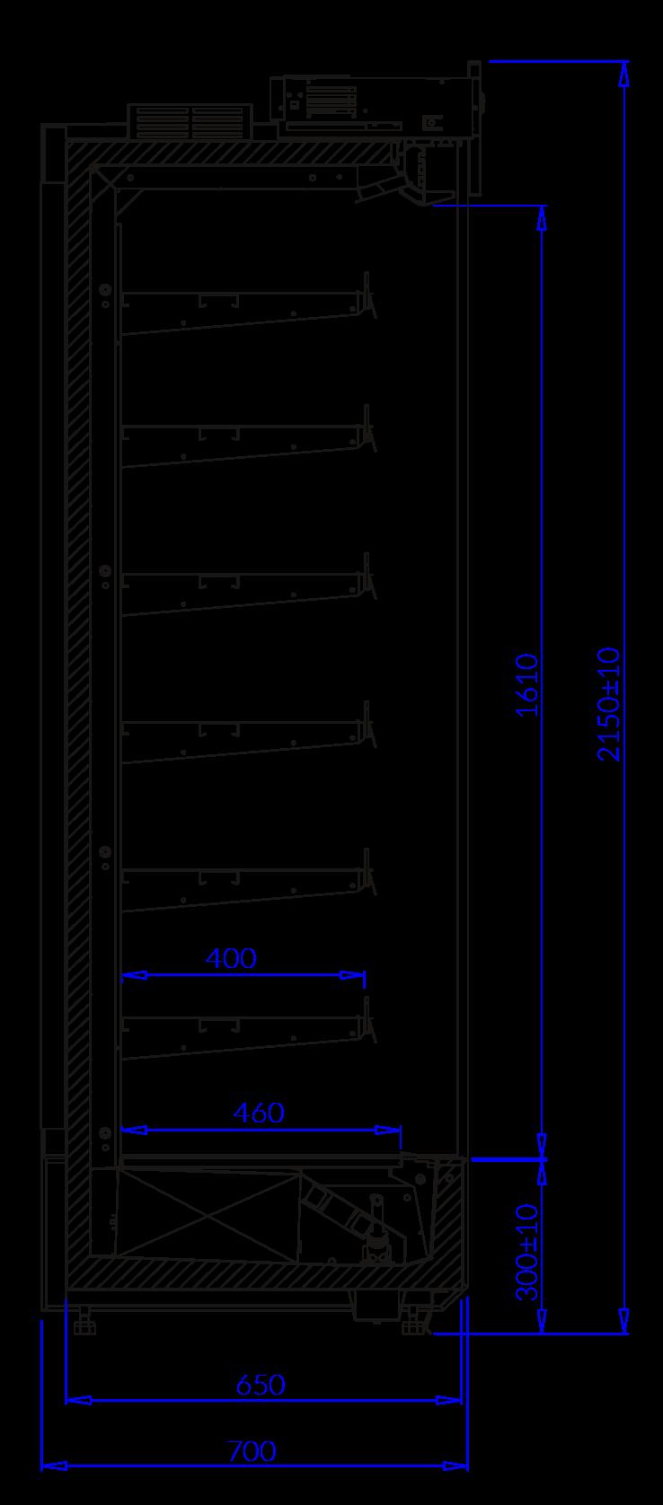 Rysunek techniczny Regał chłodniczy KING EVO MOD C