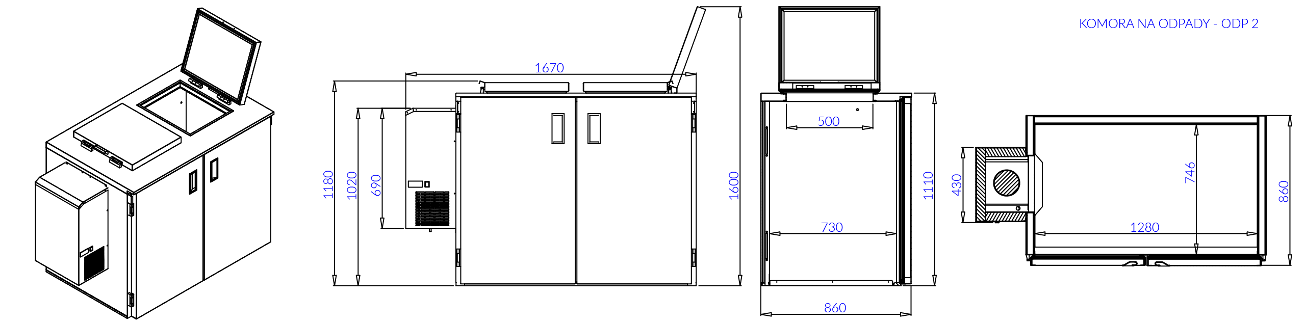 Rysunek techniczny Chłodnicza komora na odpady KOMORA ODP 2