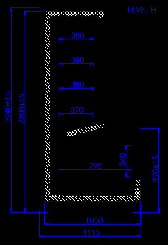 Rysunek techniczny Szafoboneta LEVEL H
