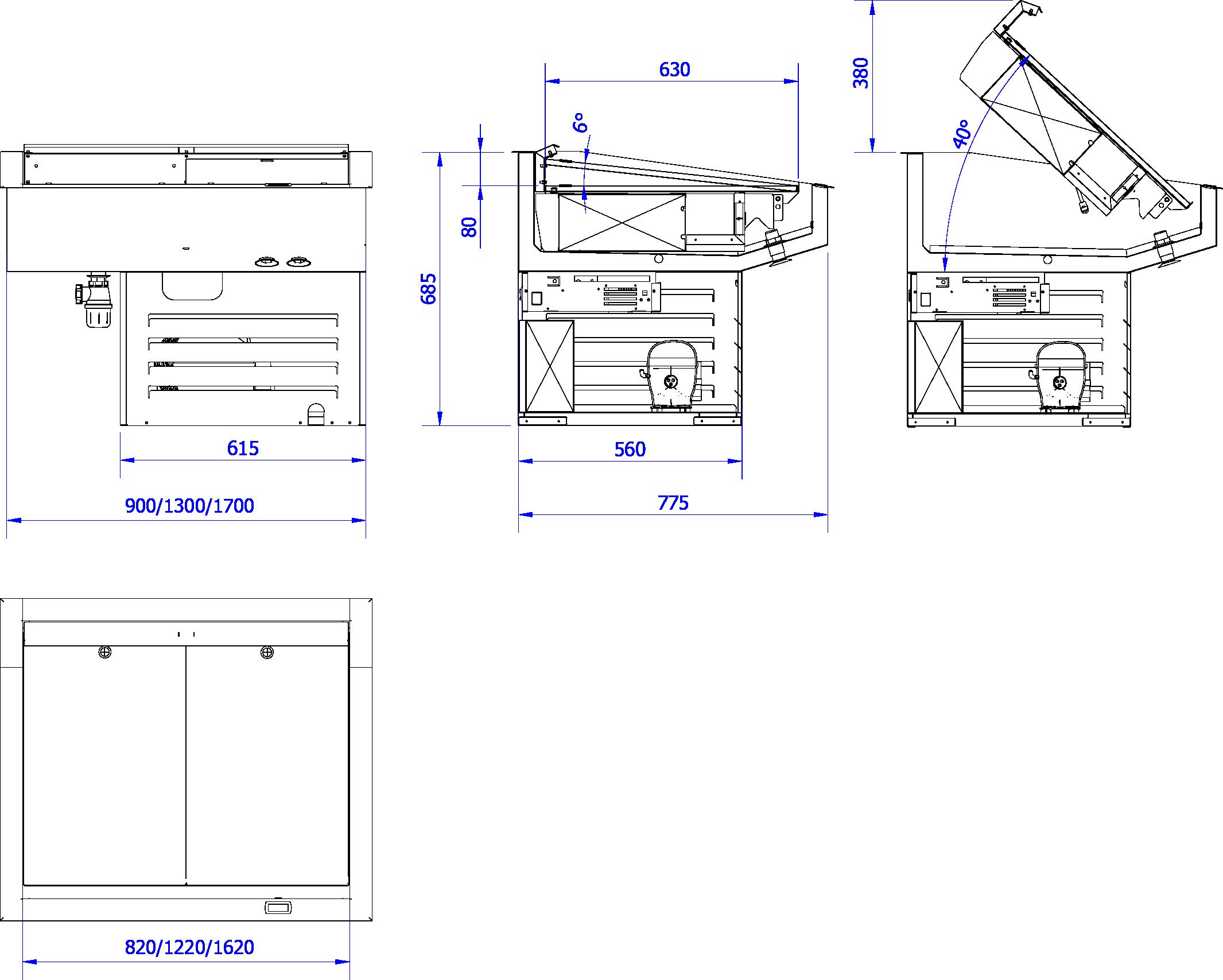 Rysunek techniczny Urządzenie chłodnicze DROP-IN LORENZO
