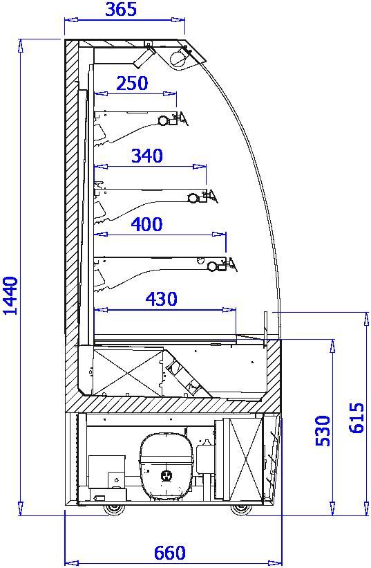 Rysunek techniczny Regał chłodniczy LUNA