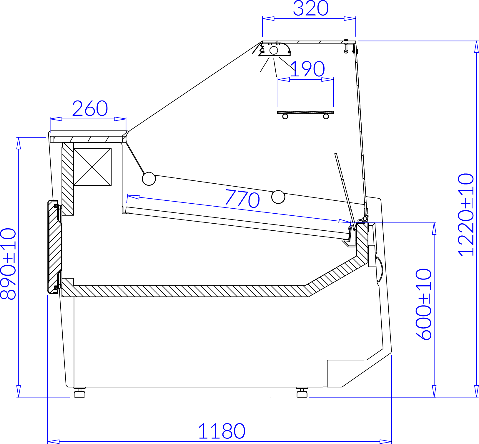 Rysunek techniczny Witryna chłodnicza LUZON
