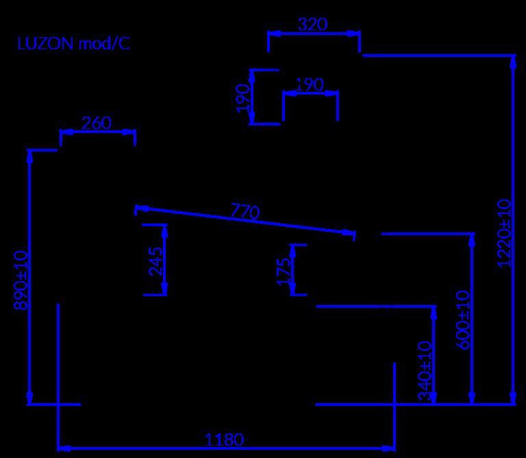 Rysunek techniczny Witryna chłodnicza LUZON MOD C