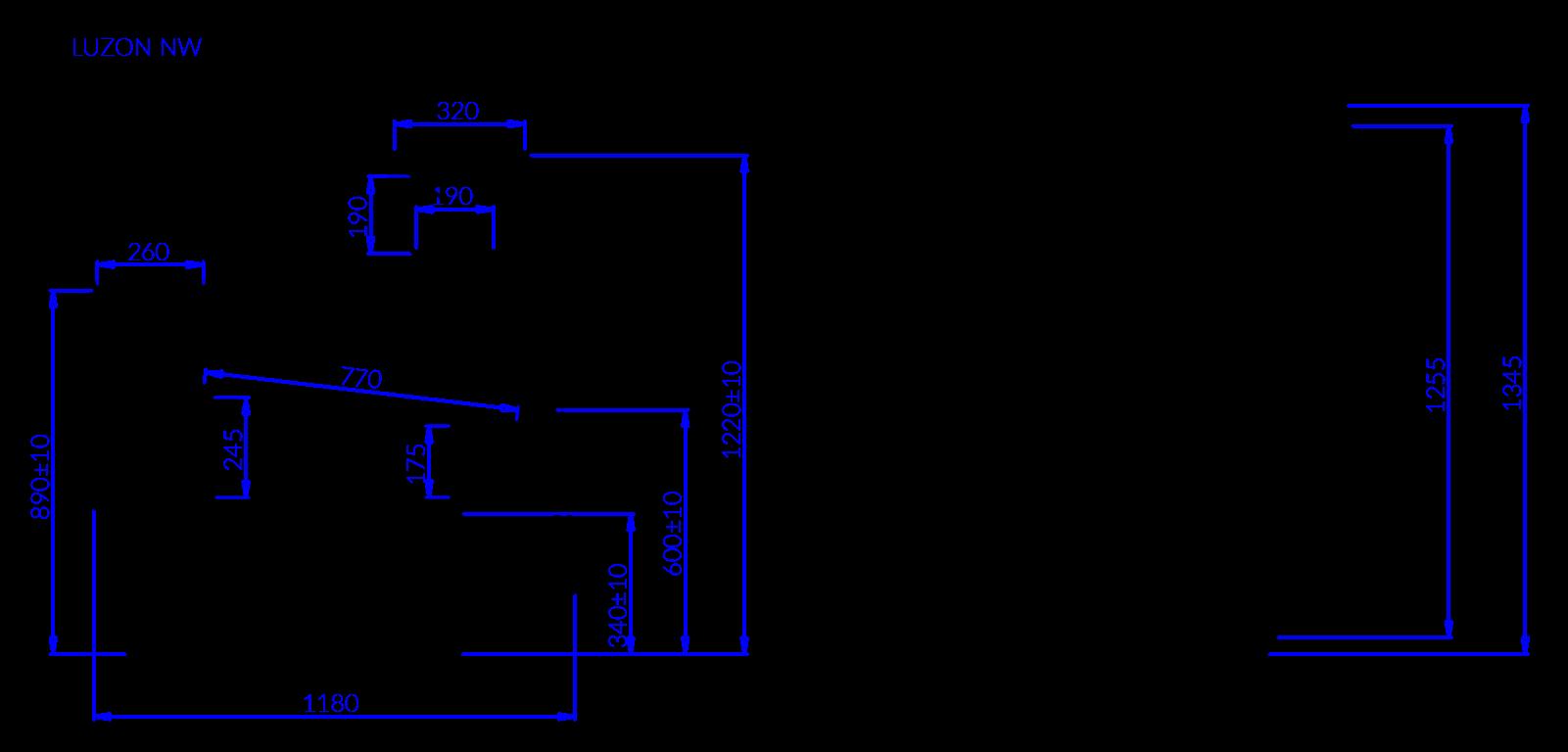 Rysunek techniczny Witryna chłodnicza LUZON NW90