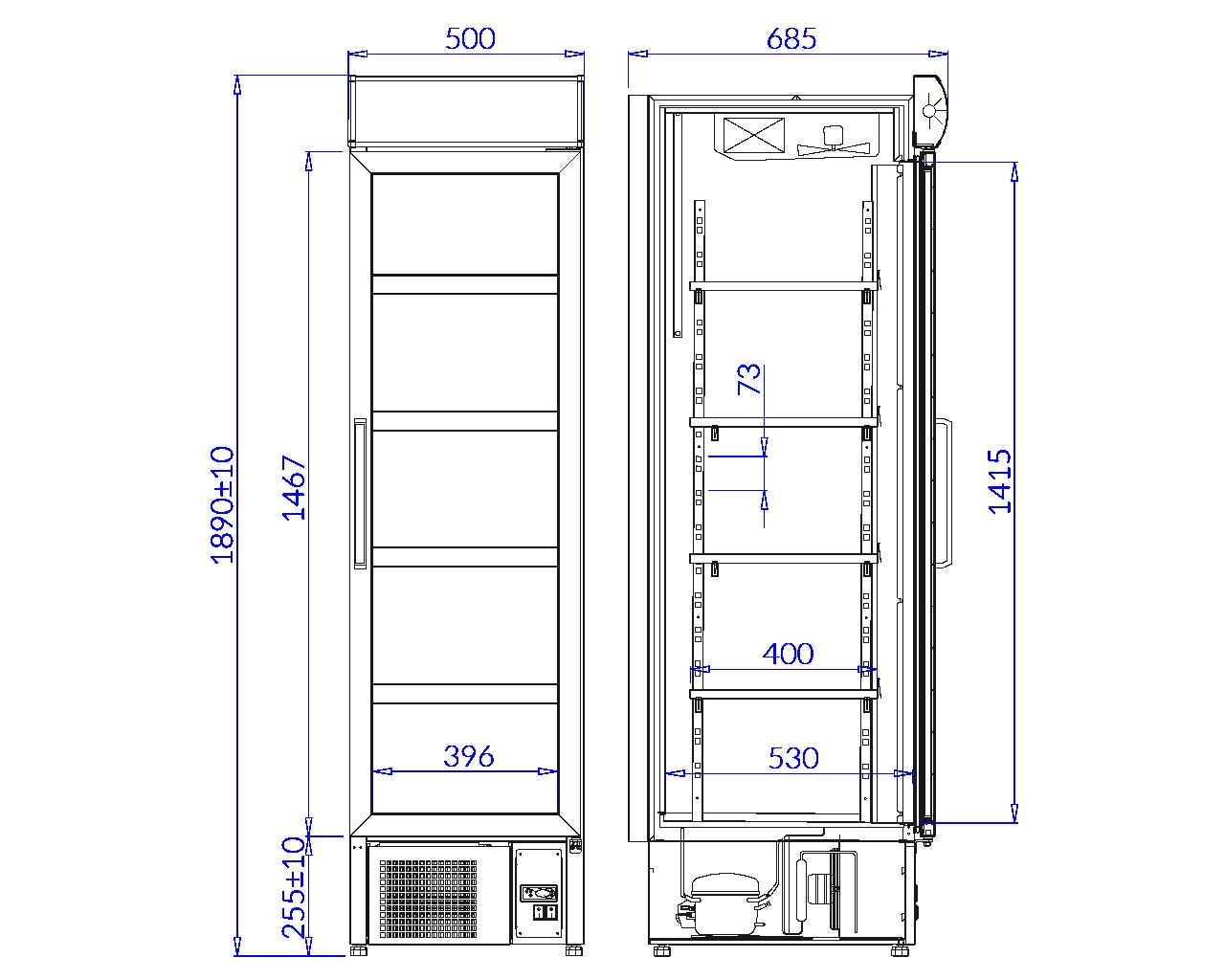 Rysunek techniczny Szafa chłodnicza MALTA 1