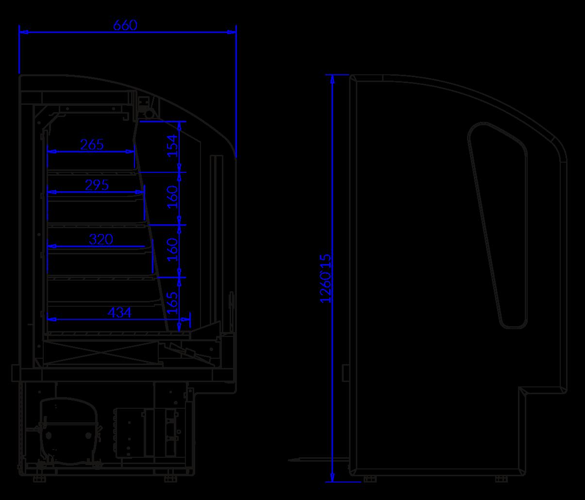 Rysunek techniczny Regał chłodniczy do sprzedaży impulsowej MAX