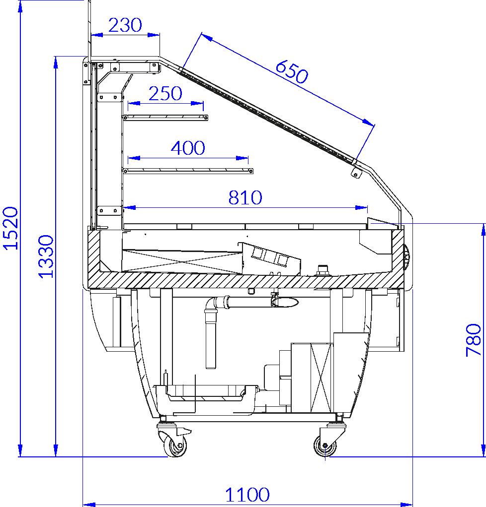 Rysunek techniczny Witryna chłodnicza MAXIM