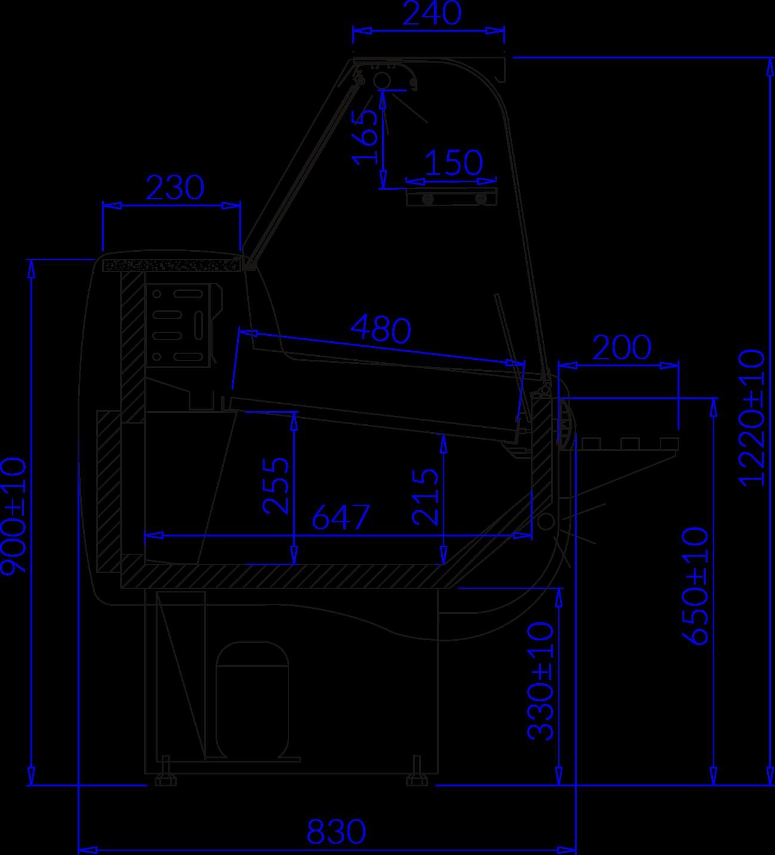 Rysunek techniczny Witryna chłodnicza MONIKA 2