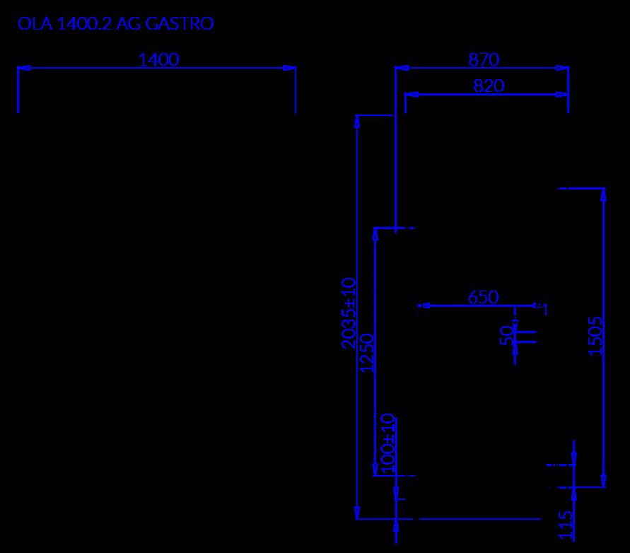 Rysunek techniczny OLA 2 AG GASTRO