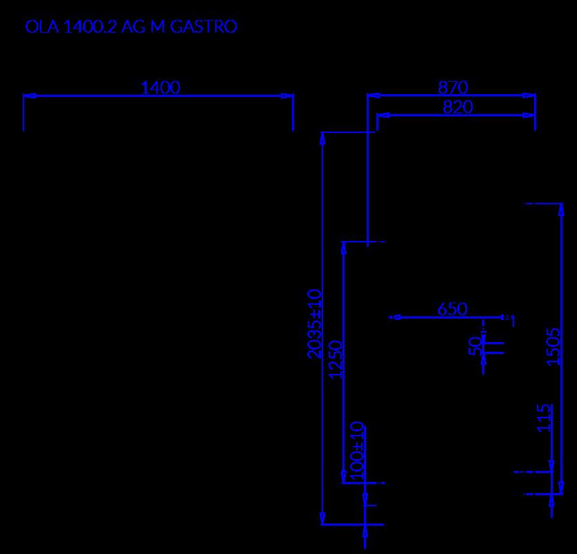 Rysunek techniczny OLA 2 AG M GASTRO