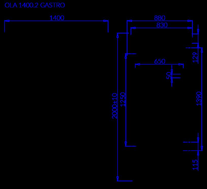 Rysunek techniczny OLA 2 GASTRO