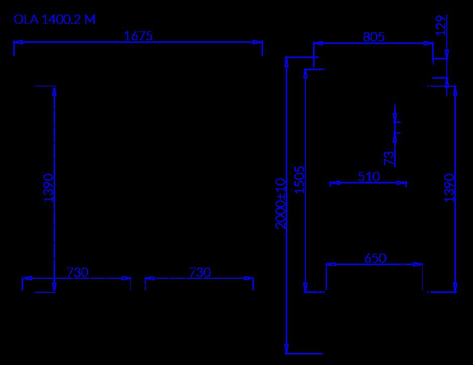 Rysunek techniczny Szafa mroźnicza OLA 2 M