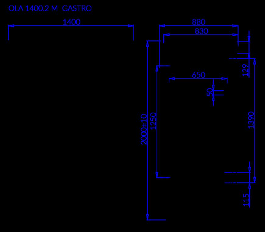 Rysunek techniczny OLA 2 M GASTRO
